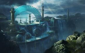 Picture landscape, the city, people, open, rocks, view, waterfall, art, arch, tower, Michal Matczak