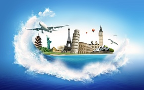 Picture sea, Eiffel tower, seagulls, Colosseum, pyramid, the plane, Big Ben, the statue of Liberty, Sydney …