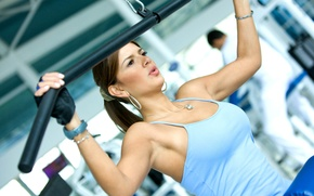 Picture girl, sport, Mike, trainer, the gym