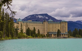 Picture mountains, the city, lake, house, Park, photo, Canada, the hotel, Alberta, Banff