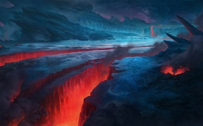 Picture ice, lava, Warhammer 40000, split, Warhammer 40K, Warhammer 40.000: Eternal Crusade, Vulcanus Plain