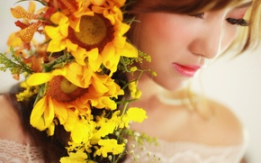 Picture sunflowers, flowers, face, background, makeup, lipstick, Asian, beauty