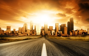 Wallpaper sunset, the city, speed, Road