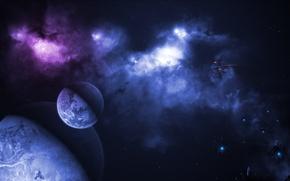 Picture space, nebula, planet, satellite, ships, art