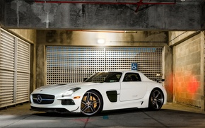 Picture Mercedes, AMG, Black, SLS, White, Series