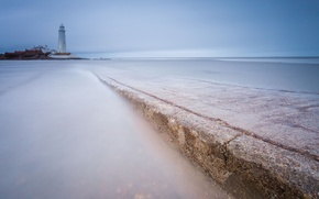Picture sea, the sky, blue, shore, lighthouse, England, UK, calm