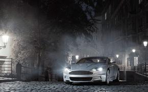 Wallpaper Aston Martin, Lights, Fog, Night, Lights, DB9, Bridge