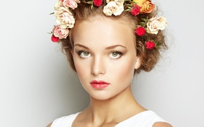 Picture look, girl, flowers, face, background, hair, makeup, hairstyle