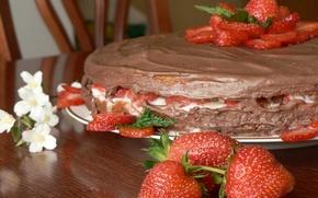 Wallpaper cake, food, strawberry