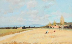 Picture landscape, mountains, house, picture, harvest, Marseille Dif, Figures in the field