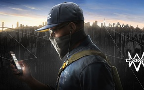 Picture the city, glasses, cap, gun, cell phone, hack, Watch Dogs2