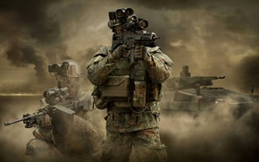 Picture soldiers, weapons, tank, equipment