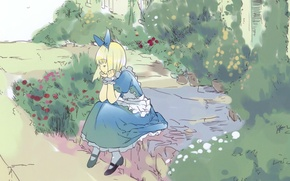 Picture Alice, flowers, lawn, art, apron, alice in wonderland, blue dress, ueda ryou