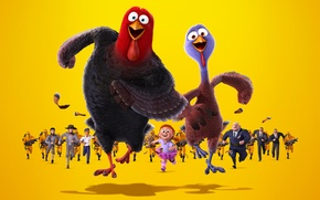 Picture yellow, background, cartoon, chase, turkeys, Turkeys: Back to the future, Free Birds