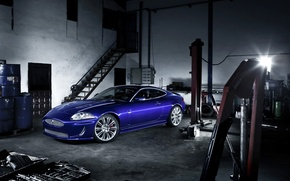 Wallpaper blue, Jaguar, XKR, garage