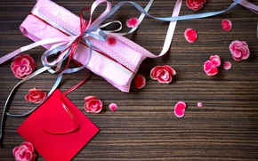 Wallpaper flowers, holiday, gift, paper, box, petals, ribbons, pink