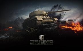 Picture flame, war, smoke, tank, World of tanks, WoT, medium tank, world of tanks, t-34-85