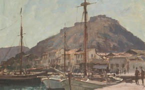 Picture landscape, mountain, home, picture, boats, promenade, Edward Seago, Nafplio. Greece