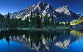 Picture trees, mountains, lake, reflection, Canada, Albert, Alberta, Canada, Canadian Rockies, Canadian Rockies, Kananaskis, Kananaskis Country, ...