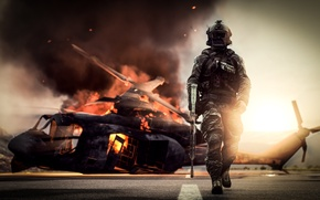 Wallpaper weapons, Battlefield 4, soldiers, background, helicopter, equipment, fire