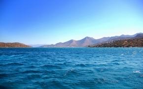 Picture sea, mountains, blue, Greece, Crete