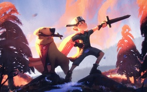 Picture forest, dog, sword, boy, art, dog, pan, adventure, Adventure Time
