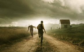 Picture road, field, clouds, weapons, running, zombies, survivors, DayZ