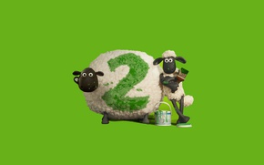 Picture green, cinema, wallpaper, design, movie, animal, sheep, film, animated film, children, brush, ink, adventure, official ...