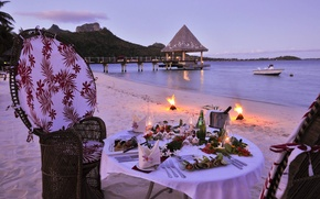 Picture beach, the ocean, romance, the evening, ocean, evening, romantic, paradise, Bora-Bora, dinner, dinner
