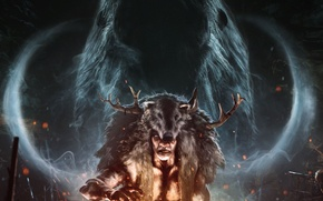 Wallpaper look, ritual, plemya, Shaman, Far Cry Primal, smoke, skin, mammoth, spirit, Ubisoft, horns, fire