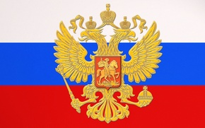 Wallpaper Russia, Flag, Tricolor, Coat of arms