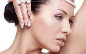 Wallpaper face, hair, Girl, pearl, profile, jewelry