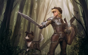 Picture forest, girl, figure, dog, sword, armor, fantasy, art, girl, sword, fantasy, shield, knight, forest, armor, …