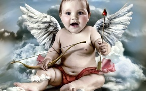 Picture clouds, wings, angel, bow, arrow, Cupid