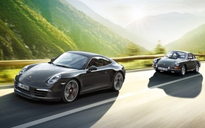 Picture background, 911, Porsche, Porsche, the front, old and new