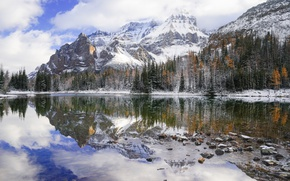 Picture landscape, nature, Mount Huber reflected in Schaffer, Wiwaxy Should