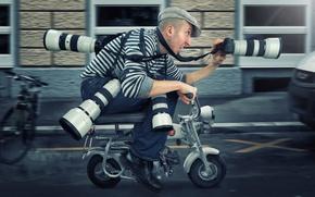 Wallpaper speed, man, humor, moped, photographer, paparazzi