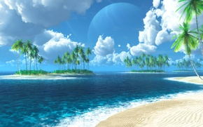 Picture sea, Islands, tropics, palm trees, graphics, digital, Tropic of Thetis