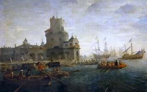 Picture sea, boat, ship, tower, picture, Fort, Gaspar van Eyck, Seascape