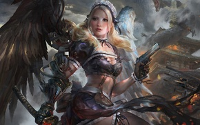 Picture girl, gun, mechanism, wings, monster, sword, art, tails