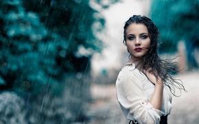 Picture girl, rain, wet, makeup, Alessandro Di Cicco