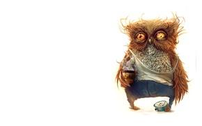 Picture coffee, minimalism, art, illustration, owl