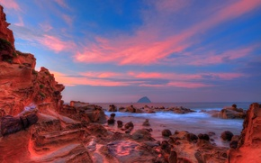 Picture sea, the sky, clouds, sunset, stones, rocks