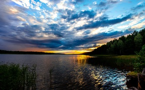 Picture wave, forest, water, the sun, clouds, landscape, sunset, nature, river, shore, horizon, hdr, panorama, beautiful