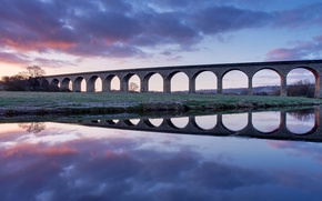 Picture the sky, clouds, bridge, reflection, river, dawn, England, morning, UK, viaduct
