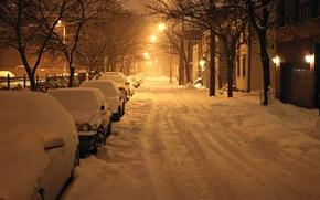 Picture winter, snow, night, New York, night, winter, new york, snow, usa, Albany, Albany
