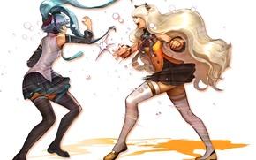 Picture girls, fight, stockings, art, Hatsune Miku, bow, Vocaloid, Vocaloid, school uniform, ears, SeeU