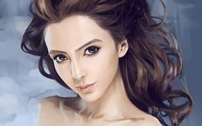 Picture look, girl, face, hair, portrait, art, curls, Asian, Dtoxin