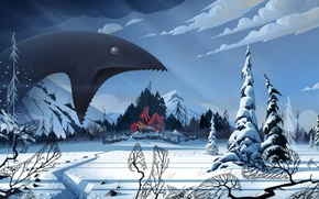 Picture winter, snow, landscape, monster, village, art, The Banner Saga