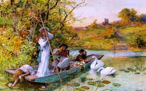 Picture children, river, boat, swans